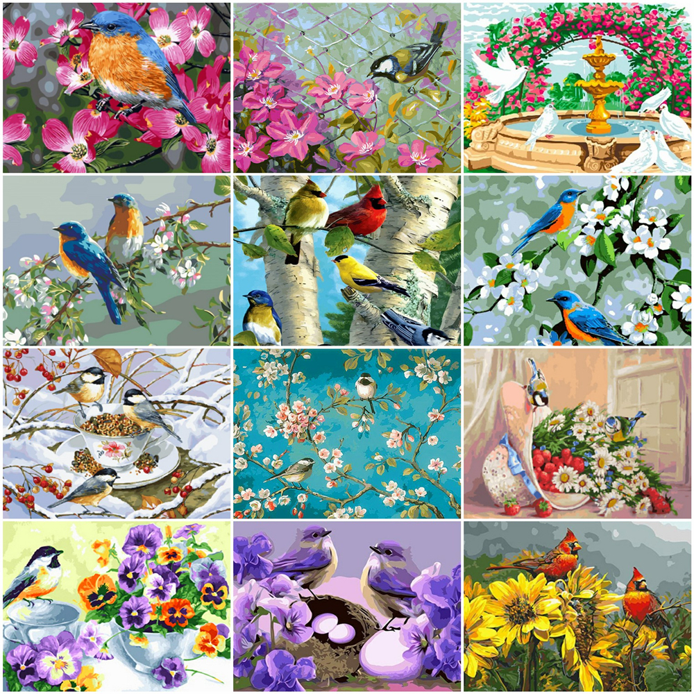 HUACAN Painting By Number Animal Drawing On Canvas HandPainted Art Gift DIY Pictures By Number Flower Bird Kits Home Decor