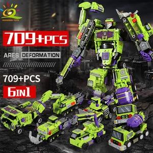 Image 2 - 709pcs 6in1 Transformation Robot Building Block City Engineering Excavator car truck constructor Bricks toy For Children