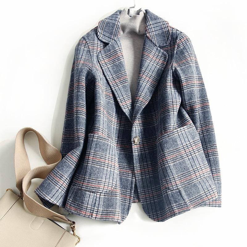 Women Wool Blazer 80%Wool 20%Poly Plaid Office Lady Blazer Single Button Two Pocket Jacket Spring Autumn Wool Coat Female K276