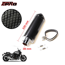 TDPRO 38mm Motorcycle Carbon Fiber Exhaust Muffler Pipe & Clamp For 125cc 140cc 150cc 200cc Scooter ATV Dirt Pit Bike Motorbike