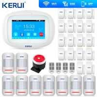 KERUI 4.3 Inch TFT Color Screen Wireless Security Alarm WIFI GSM Alarm System APP Control Wired Siren PIR Motion Door Sensor