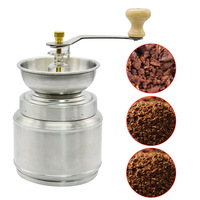 Household Manual Coffee Grinder Spice Nut Coffee Bean Herb Stainless Steel Mill with Adjustable Hand Crank Tool