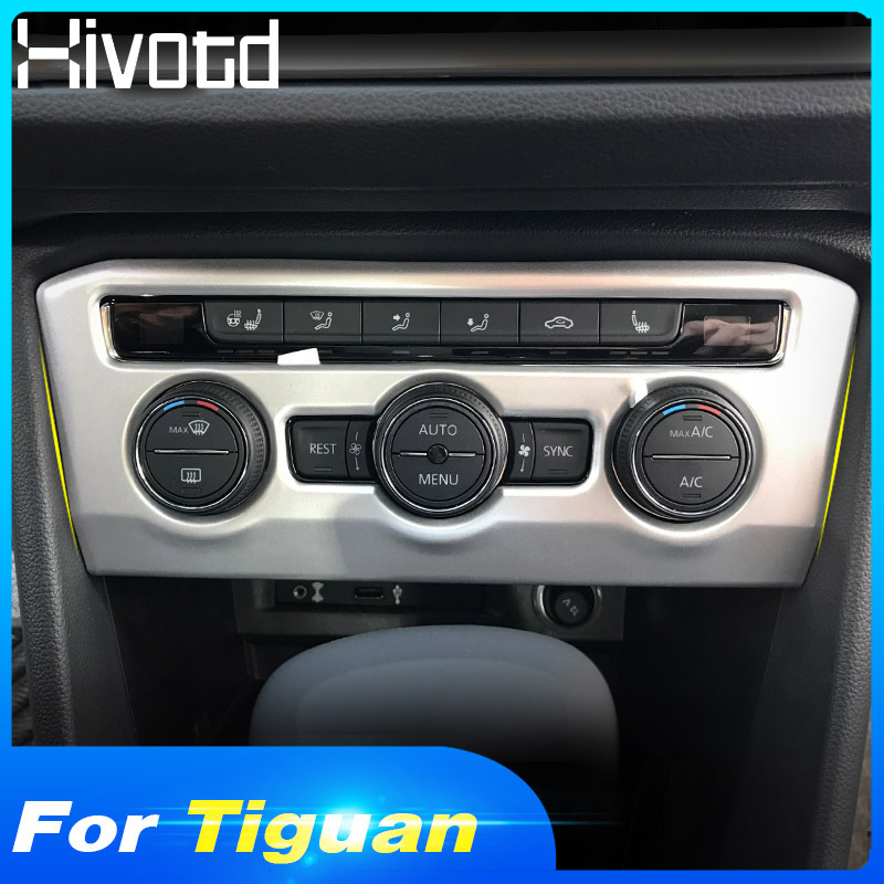 Hivotd for Volkswagen VW Tiguan MK2 2019 Auto Accessories Car Air Condition Switch Buttons Cover Trim Interior ABS Chrome in Interior Mouldings from Automobiles Motorcycles