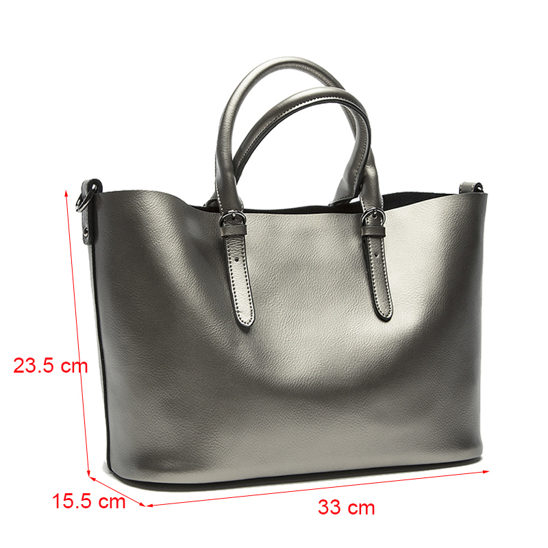Image 3 - Silver Genuine Leather Shoulder Bags for Women 2019 High Quality Luxury Handbags Big Messenger Bag Tote Ladies Hand Bags Natural-in Shoulder Bags from Luggage & Bags