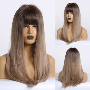 Image 5 - EASIHAIR Long Straight Synthetic Wig with Bangs Dark Brown Wigs for Women Nature Wigs High Temperature Fiber Hair Wigs
