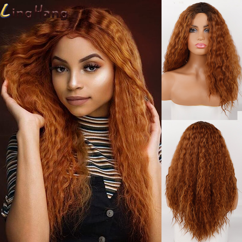 Ling Hang Long Wool Roll Wig High Temperature Synthetic Middle Curly Wig African Black Woman Cosplay Hair