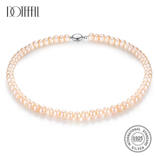 DOTEFFIL 8-9MM Necklace Bead Natural Freshwater Pearl Necklace For Women 45cm Length 925 Silver Pearl-clasps Pearl Jewelry Gift [daimi] grey color pearl necklace 160cm long sweater chain natural pearl long necklace 8 9mm rice pearl beach style 2017 new