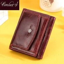 Mini Cartera y monederos para Mujer, monedero pequeño de marca de lujo, billetera delgada RFID, monederos Portfel para Mujer