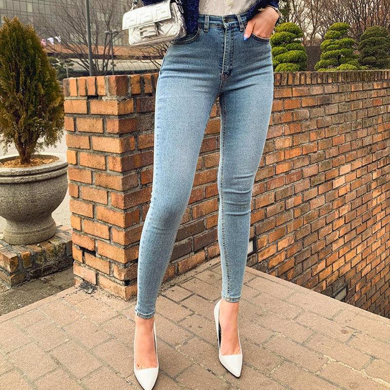 Women's Jeans High Waist Stretch Skinny Denim Pants 2020 Autumn Winter Blue Retro Washed Elastic Slim Pencil Trousers 4
