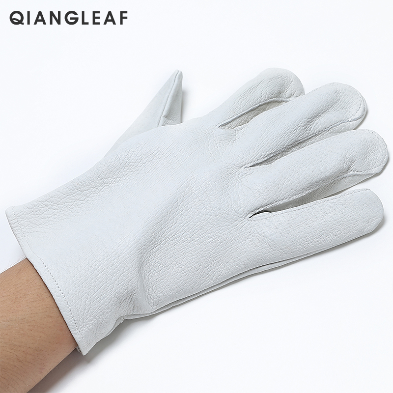 Image 3 - QIANGLEAF Brand Safety gloves D Grade White Grain mittens Leather glove Men Driver Wholesale White Gloves Free Shipping 130-in Safety Gloves from Security & Protection