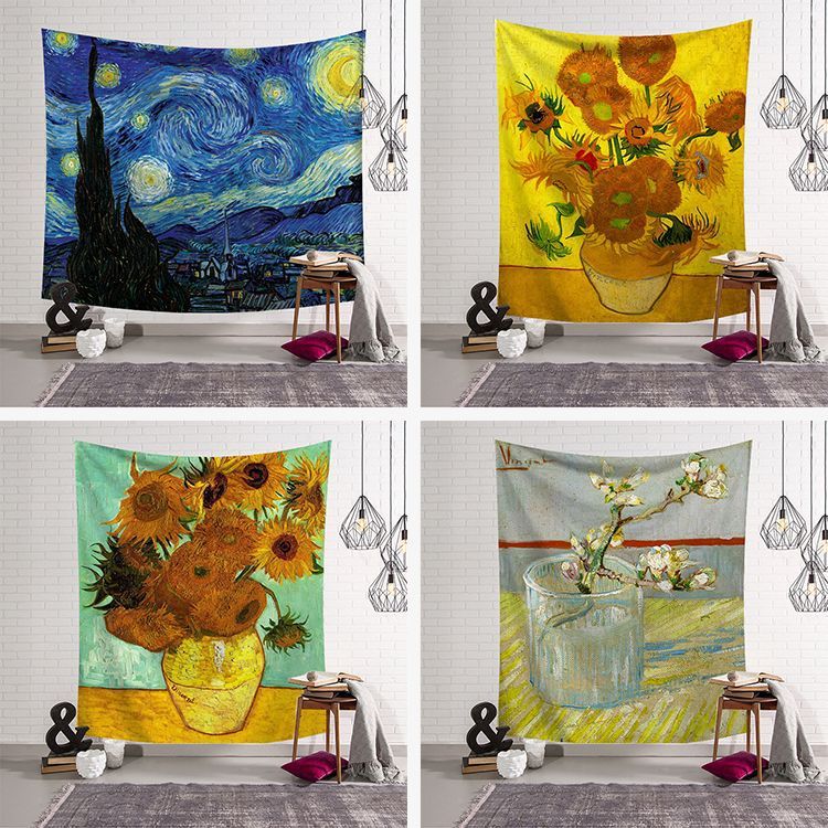 Flower oil painting psychedelic tapestry Van Gogh printing wall hanging exotic decorative blanket home decoration
