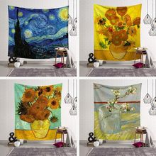 Flower oil painting psychedelic tapestry Van Gogh printing tapestry wall hanging exotic decorative blanket home decoration