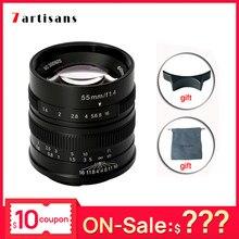 7artisans – objectif d'appareil photo 55mm F1.4, pour Canon, grande ouverture, Portrait, mise au point manuelle, Micro objectif d'appareil photo, monture eos-m E Fuji