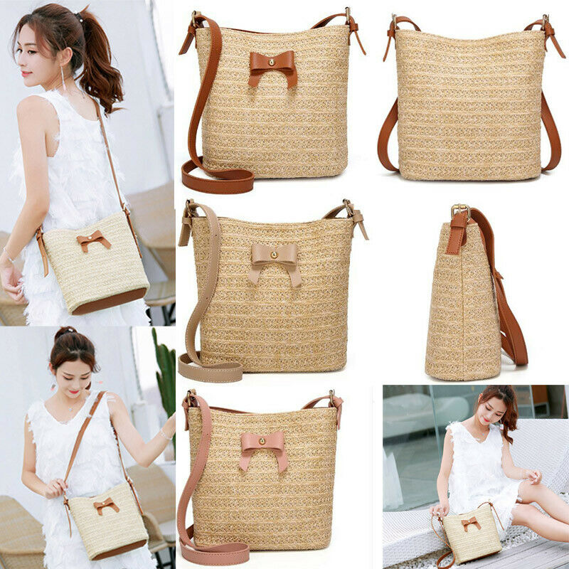 Summer Beach Tote Bag Fashion Women's Shoulder Bag Bohemian Woven Round Handbag Crossbody Straw Bag Hand-woven Rattan Bags Canta