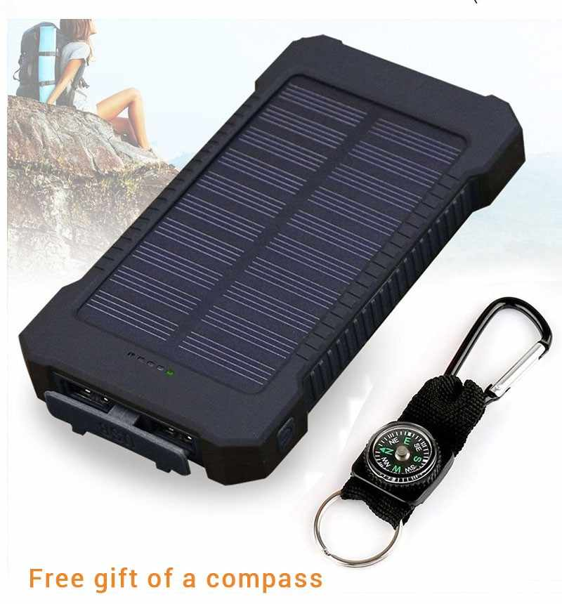 Solar Power Bank Waterproof 30000mAh for Xiaomi Smartphone with LED Light Solar Charger USB Powerbank Ports For iphone 8 X