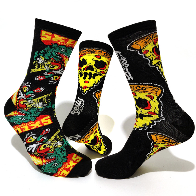 NEW Personality Cartoon Men Socks Couple Fire-breathing Dragon Charizard Skull Sandwich Harajuku Hip Hop Compression Socks Gifts