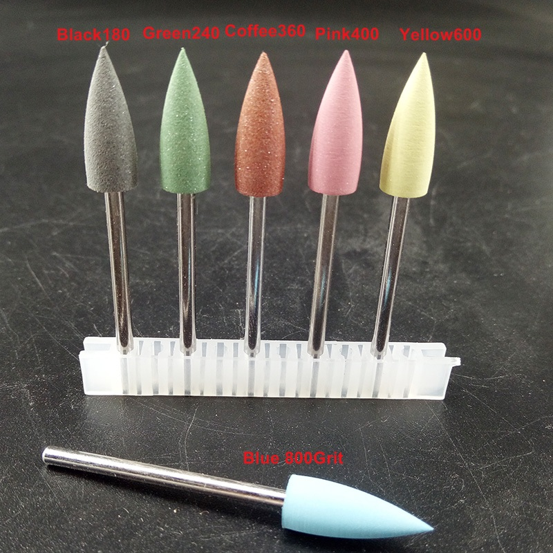 1 Pcs New-Pro Sharp-shape PEDICURE Kit Rubber Silicon Polisher Grinding Head With 2.35mm Shank Nail Bit,6 Colors For Chosen.