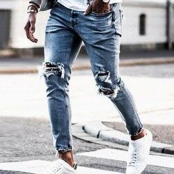 Мужские обтягивающие джинсы в стиле хип-хоп, крутая уличная одежда, байкерские джинсы с вышивкой, рваные джинсы на молнии, тонкая мужская од...