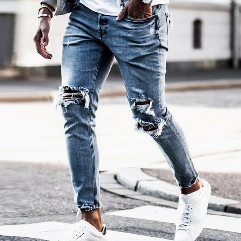 Men's Jeans Skinny Hip Hop Cool Streetwear Biker Embroidery Patch Hole Ripped Zipper Jeans Slim Mens Clothes Pencil Homme Jeans image