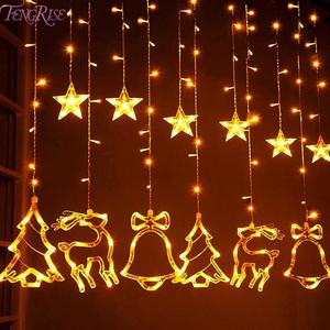 Elk Bell String Light LED Christmas Decor For Home Hanging Garland Christmas Tree Decor Ornament 2020 Navidad Xmas Gift New Year