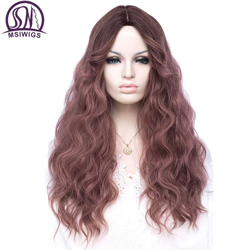 MSIWIGS Long Pink Curly Synthetic Wig For Women Brown Wigs Cosplay Heat Resistant Fiber Female Daily False Hair
