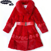 Long Coat Real-Fox-Fur Winter Womens Fashion Luxury Outerwear Warm Thick Slim Solid BELTED