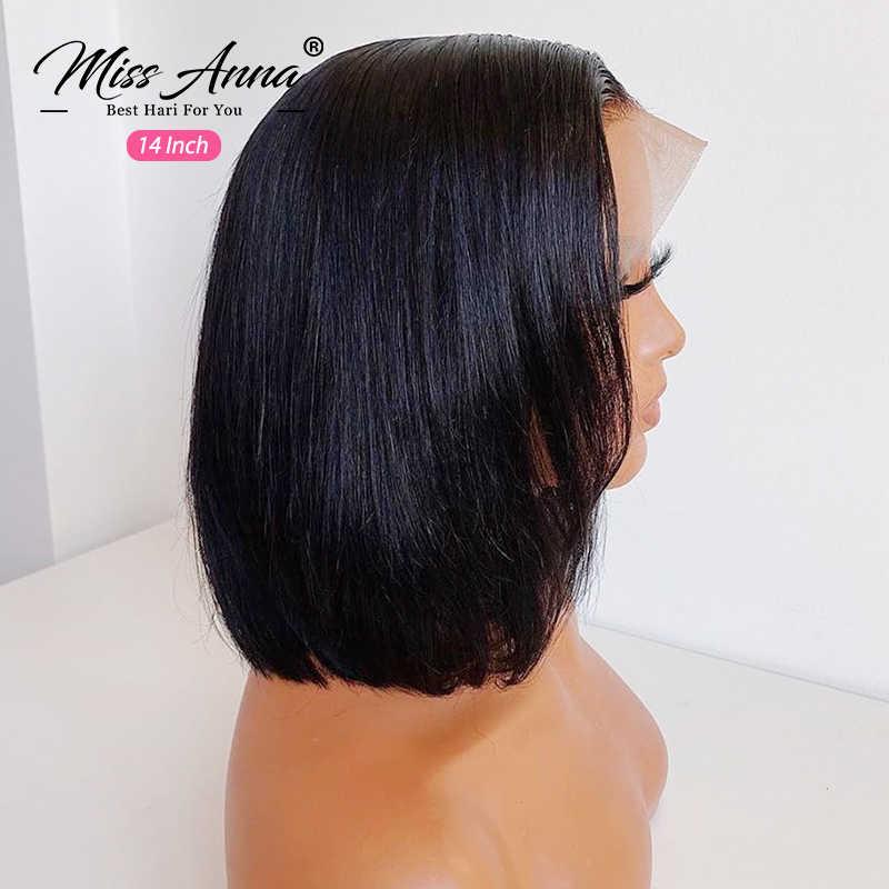 Missanna Brasilianische Gerade Kurze Bob Perücke Spitze Front Menschliches Haar Perücken 13x4 Bob Spitze Front Perücken 150% Verschluss perücke Pre-gezupft Haar