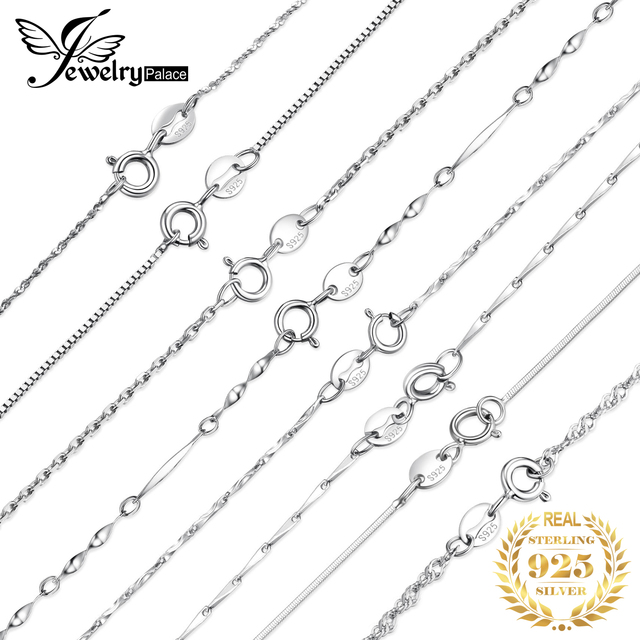 JewelryPalace 100% Genuine 925 Sterling Silver Necklace Ingot Twisted Trace Belcher Snake Bar Singapore Box Chain Necklace Women 1