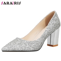 SARAIRIS New Female Sexy Shallow Pointed Toe Wedding Pumps 2020 High Heels Pumps Women Spring Party Shining Shoes Woman