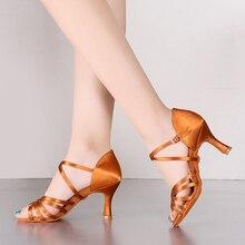 Upgrade Hot Selling Heel 7.5 / 5.5cm Silk Satin Latin Ballroom BD Dance Shoes Latin Women Dancing Shoes