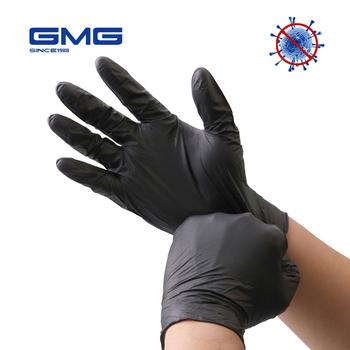 Rękawice nitrylowe czarne 100 szt Food Grade wodoodporne dla alergików jednorazowe rękawice ochronne rękawice nitrylowe mechanik syntetyczny tanie i dobre opinie GMG SINCE 1988 NONE CN (pochodzenie) RĘKAWICE ROBOCZE VN-1856 Synthetic Nitrile S-XL 7-10 China Welcome Food Household Hardware Tools etc