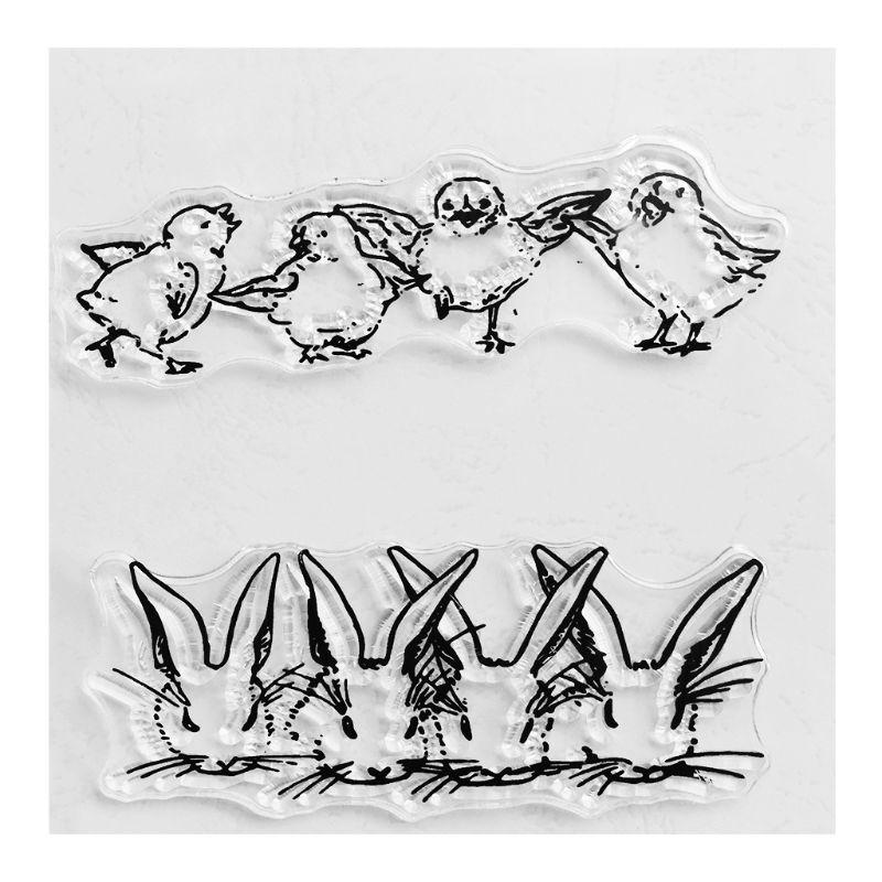 para manualidades /álbumes de recortes Juego de troqueles de silicona transparente con dise/ño de conejo y pollo /álbumes de recortes tarjetas de papel fotogr/áfico manualidades