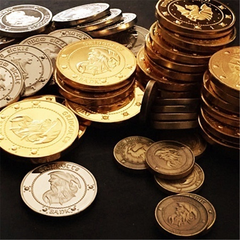 3pcs/set Hogwarts Magic School Potter Gringotts Bank Wizarding Coins Cosplay Collection Gift Accessories Prop