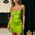 Летнее зеленое Красное Атласное Платье, женское облегающее платье, летнее платье с леопардовым принтом, сексуальные платья, одежда для вече...
