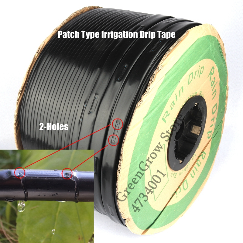 1000m/Roll 16*0.2mm 2-Holes Space10~20cm Patch Type Irrigation Drip Tape Greenhouse Farm Water Saving Irrigation Rain Drip Hose