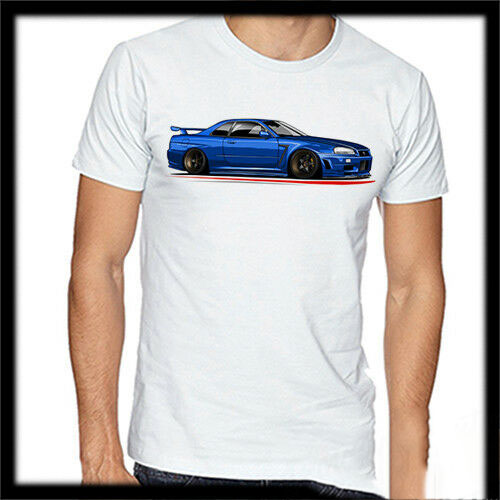 Nissan Skyline R34 GTR T Shirt Tuning Modified Car Low Slammed Static Nismo JDM