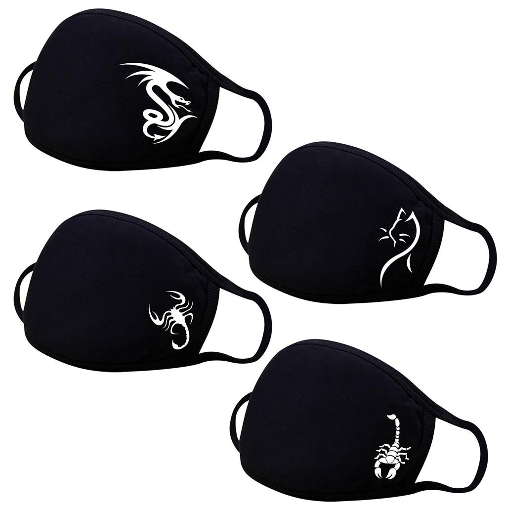 Моющаяся многоразовая маска для лица из полиэстера, 1 шт., модная черная маска с мультяшным принтом для взрослых, маска для рта с дизайнерски...