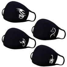1 pçs lavável reutilizável poliéster máscara facial moda preto impressão dos desenhos animados adulto filtro máscaras máscara boca com design mascarillas