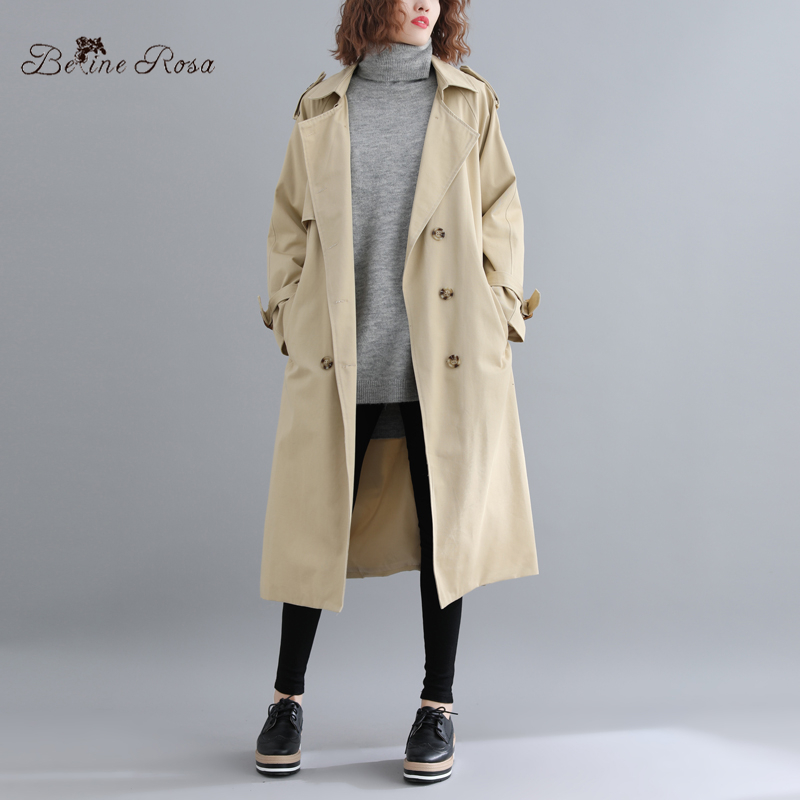 BelineRosa Hong Kong Style Ladies Women Long Coat's Casual Classical Khaki Color Turn Down Collar   Trench   Coats HYG00007