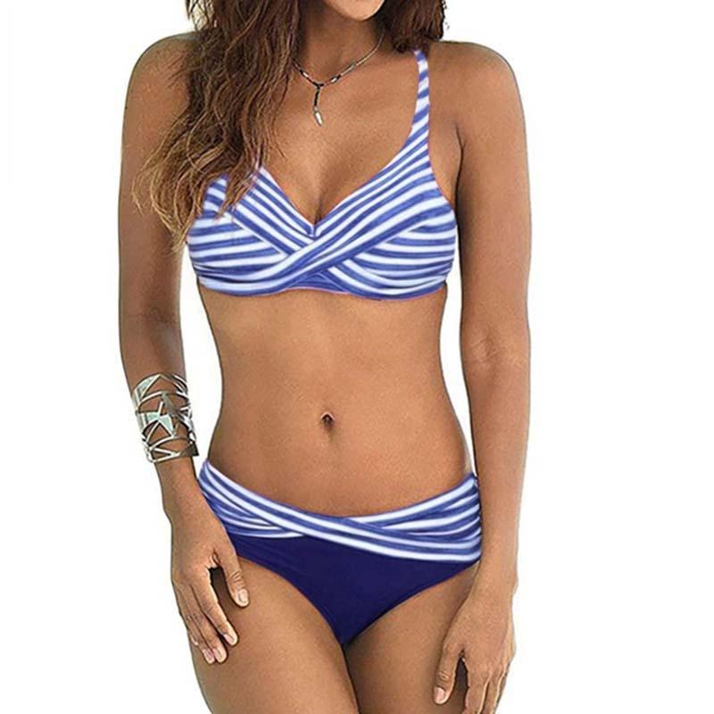 ZAFUAZ 2019 Women Backless Stripe Twist Front Crossed Tankini Halter Swimsuit Retro Bathing Suit Plus Size Bathing Suit Female