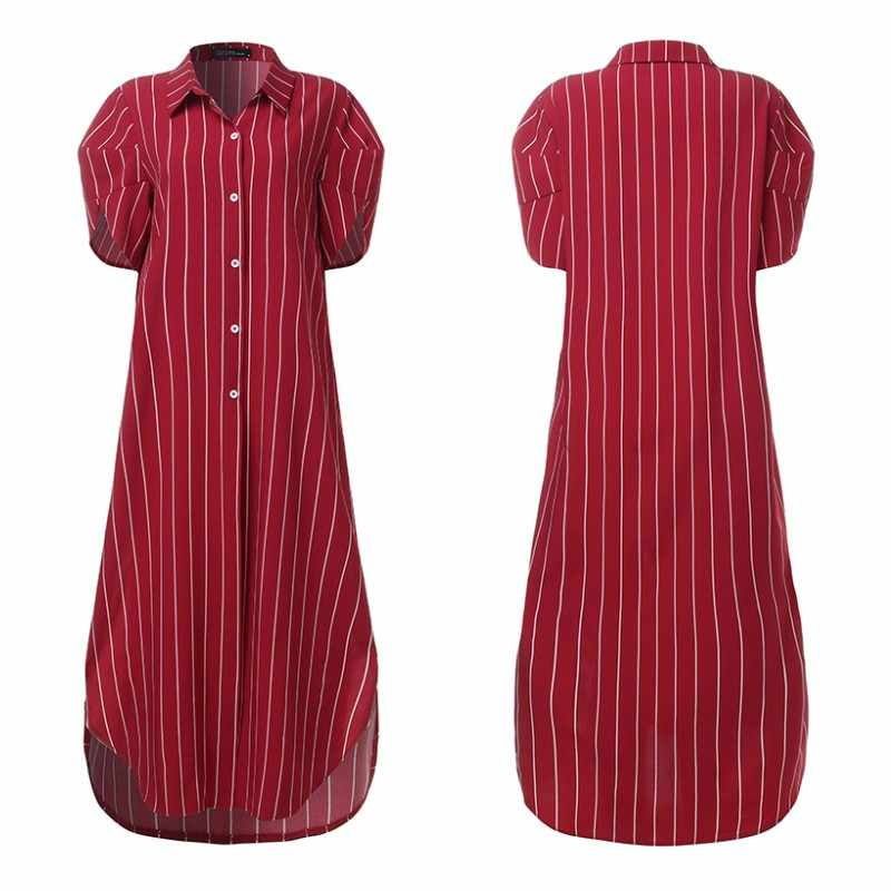 Mode Zomer Zonnejurk Vrouwen Striped Shirt Jurk Zanzea 2020 Casual Puff Mouwen Maxi Vestidos Vrouwelijke Knop Split Robe 5XL 7