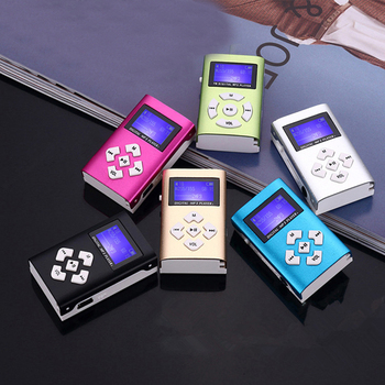 1pc Portable Simple MP3 Player Speaker With LCD Screen Metal Mini Sport Music Media Player With Radio Support TF Card 1