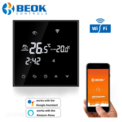 Beok Wifi Thermostat for Electrical/Water Floor Heating Temperature Controller Smart Thermostat Alexa Google Home Programmable