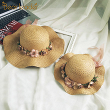 Hat Baby 2020 Summer Cap Breathable Straw Hats Childrens Flower sunhat Kids Cute