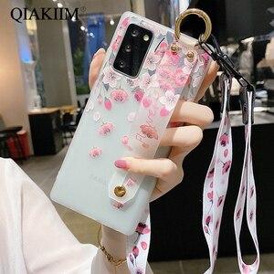 Image 4 - Çiçek bileklik kayışı durumda Samsung Galaxy A71 A51 A72 A52 A41 not 20 10 S21 Ultra S20 FE A70 a50 tutucu standı telefon kapak