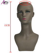 Free shipping Female black mannequin head soft PVC 45cm Wig stand Mannequin for jewelry  Scarf model Dummy