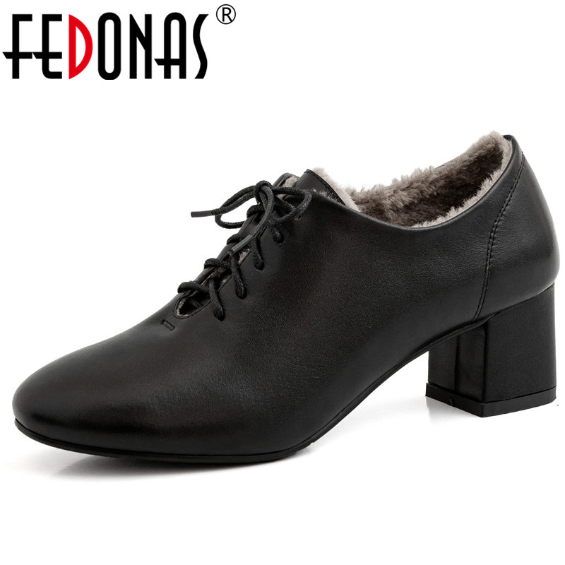 FEDONAS Comfortable Warm Women Shallow Pumps Spring Autumn Newest High Heels Party Shoes Woman Elegant Genuine Leather Shoes