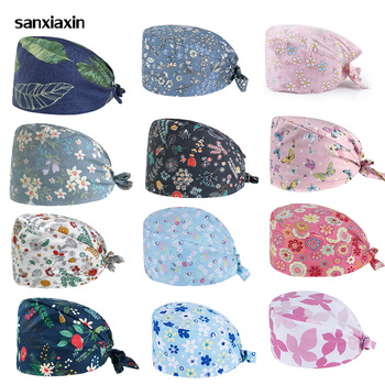 Sanxiaxin new men and women Breathable Sweat towel adjustable Scrub hat pet shop lab coat spa uniform work hat salon Scrub Cap