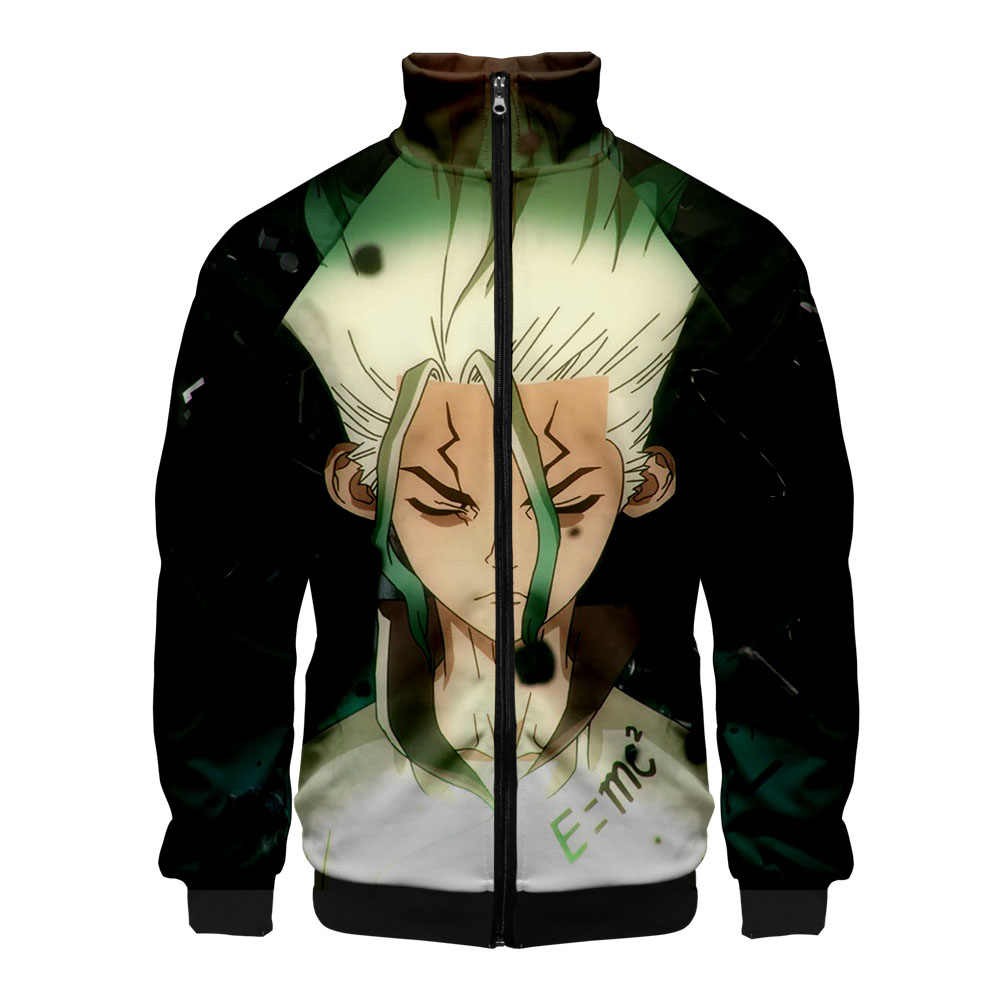 Anime dr.stone 3D Printed singer casual Sweatshirt Hoodies Zipper Fashion Zipper Popular Standing collar Zipper Hipster Hooded
