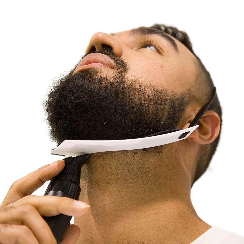White Plastic Beard Shape Ruler Outline Styling Tool Shaving Trim Face Care Grooming Template